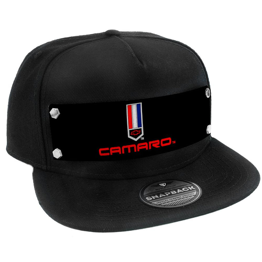 Embellishment Trucker Hat BLACK - Full Color Strap - CAMARO Badge2 Black/Red/White/Blue