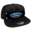 Embellishment Trucker Hat BLACK - Full Color Strap - Ford Oval Logo Black/Blue