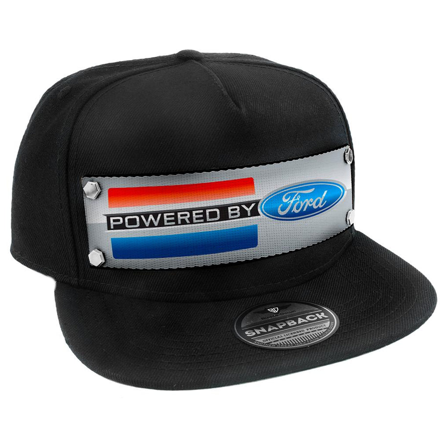 Embellishment Trucker Hat BLACK - Full Color Strap - POWERED BY FORD Stripe/Oval Gray/Red/Black/Blue