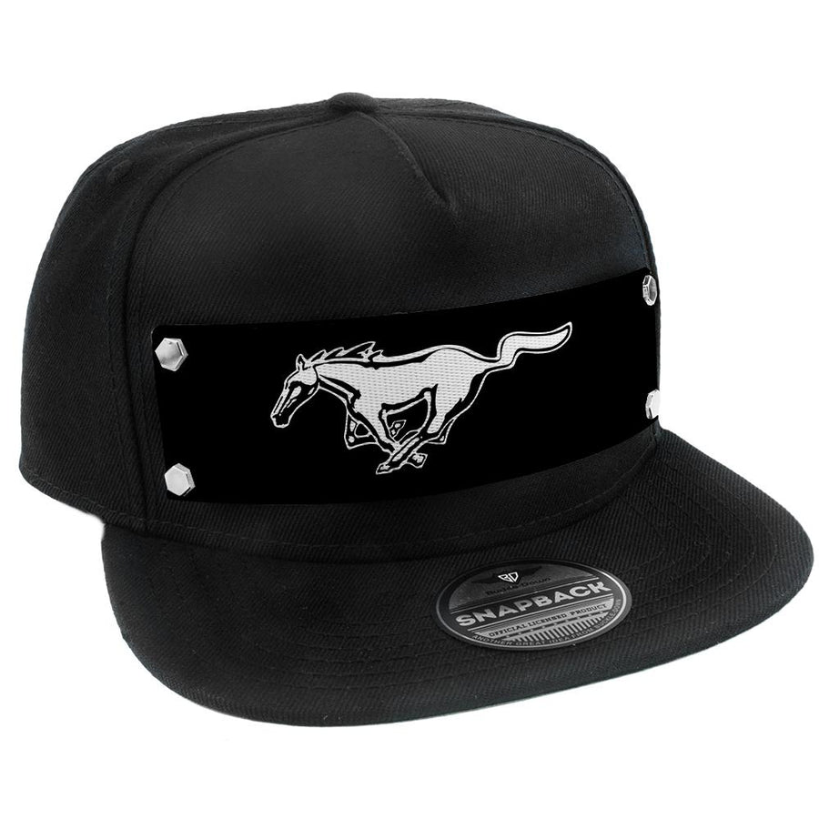 Embellishment Trucker Hat BLACK - Full Color Strap - Mustang Pony Logo Black/White/Black
