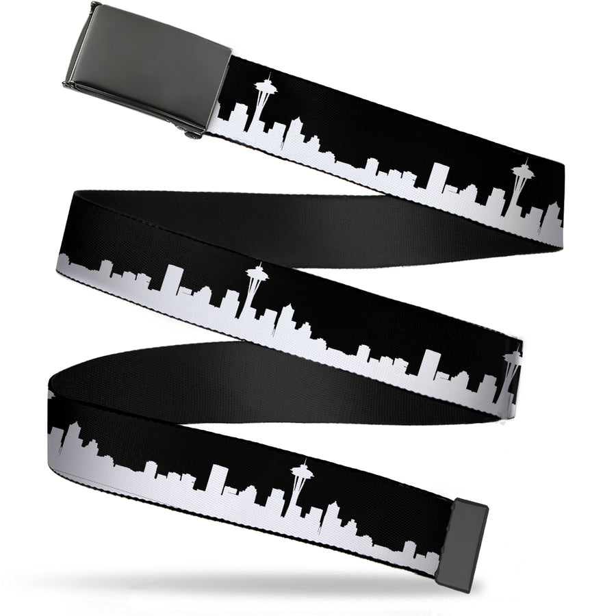 Black Buckle Web Belt - SEATTLE SOLID SKYLINE BLACK/WHITE