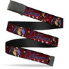 Black Buckle Web Belt - CATWOMAN Bombshell Pose/Diamonds Red/Purple/Black Webbing