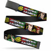 Black Buckle Web Belt - JUSTICE LEAGUE Logo/4-Superhero Panels Pop Art Webbing