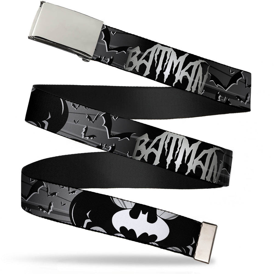 Chrome Buckle Web Belt - BATMAN w/Bat Signals & Flying Bats Black/White Webbing
