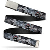 Chrome Buckle Web Belt - Joker Laughing CLOSE-UP Black/White Webbing