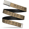 Chrome Buckle Web Belt - Dancing Bears Tan/Black Webbing