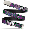 Chrome Buckle Web Belt - Joker Face/Logo/Spades Black/White/Purple Webbing