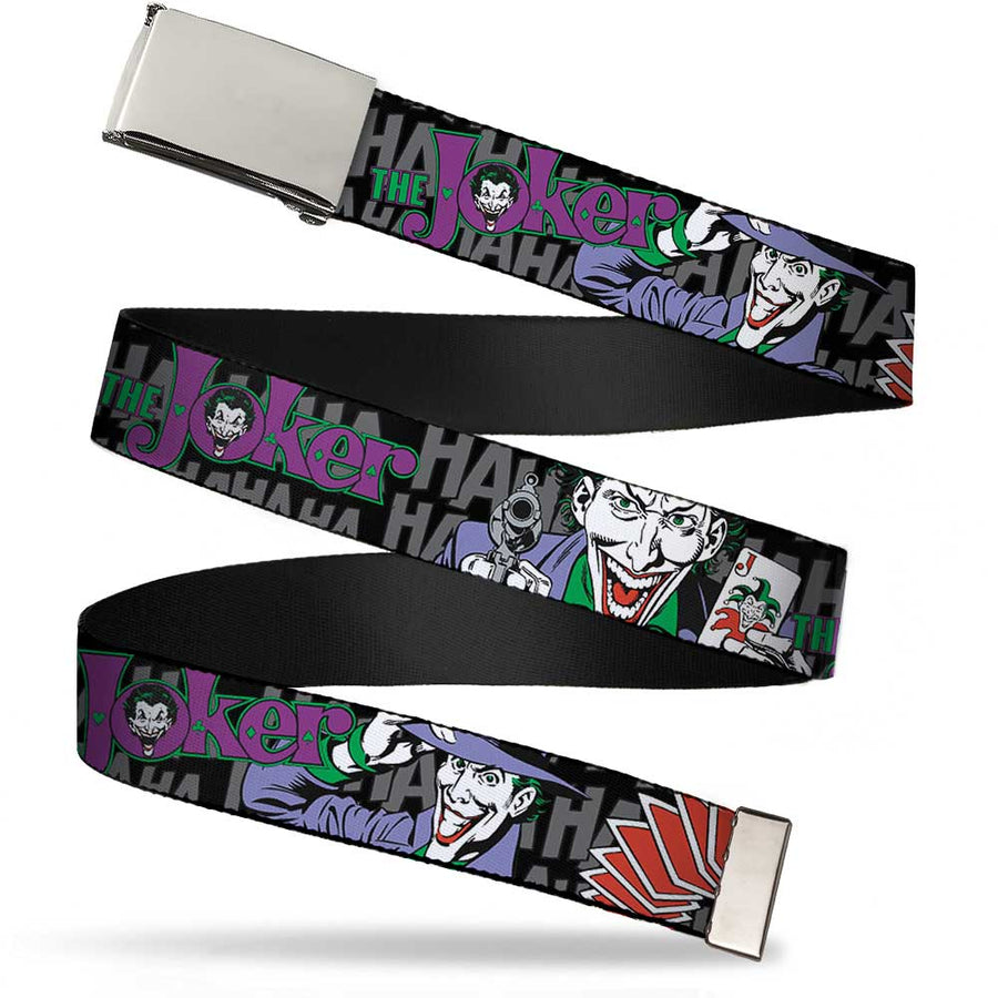 Chrome Buckle Web Belt - The Joker Pose/Cards/HAHAHAHA Black/Gray Webbing