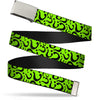 Chrome Buckle Web Belt - Question Mark Scattered Lime Green/Black Webbing