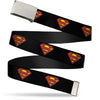 Chrome Buckle Web Belt - Superman Shield Black Webbing