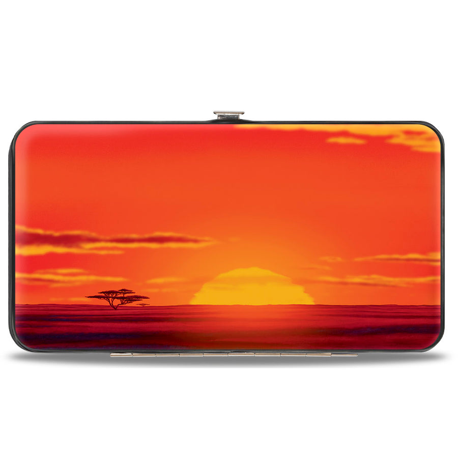 Hinged Wallet - The Lion King Hakuna Matata Simba Pumbaa Timon Sunset Silhouette Reds Black