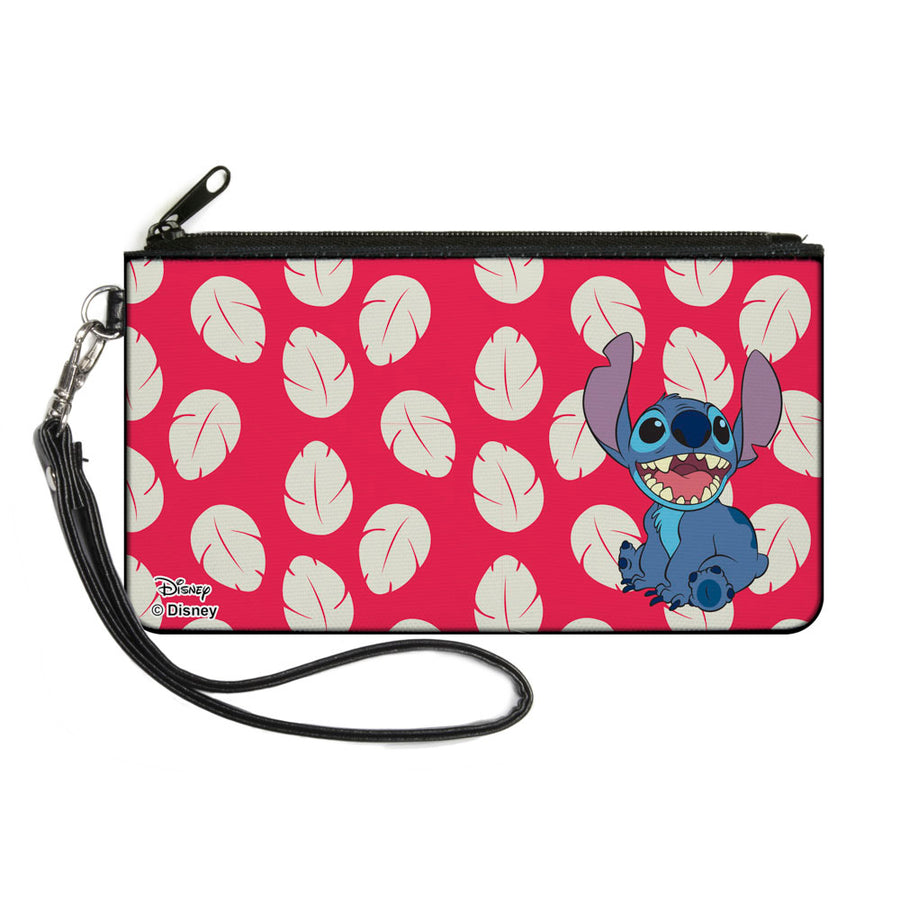Canvas Zipper Wallet - LARGE - Lilo & Stitch Stitch Smiling Pose Lilo Dress Leaves Red Ivory