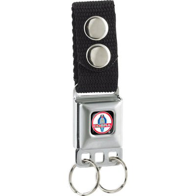 Keychain - Classic Mustang COBRA Logo Full Color Black Red White Gray Blue