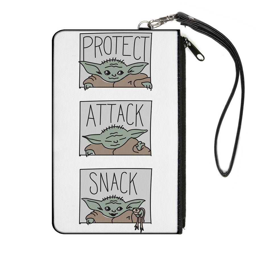 Canvas Zipper Wallet - SMALL - Star Wars The Child PROTECT ATTACK SNACK Pose Blocks White