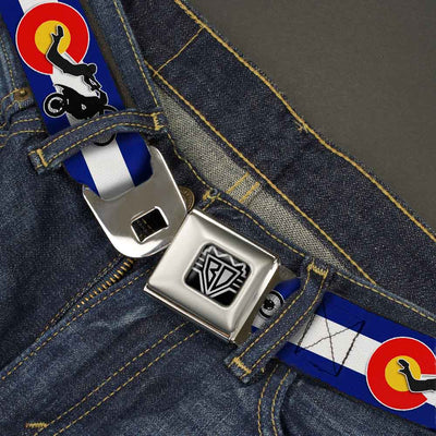 BD Wings Logo CLOSE-UP Full Color Black Silver Seatbelt Belt - Colorado/Freestyle Motocross Superman Webbing