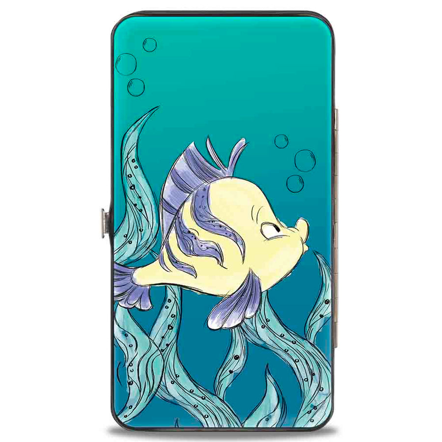 Hinged Wallet - The Little Mermaid Ariel Over Shoulder2 + Flounder Sketch Poses Kelp Blues