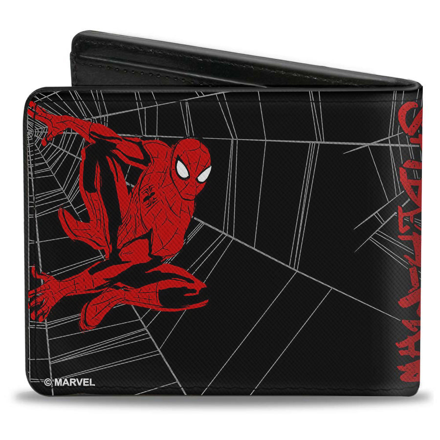 ULTIMATE SPIDER-MAN Bi-Fold Wallet - SPIDER-MAN Graffiti Action Poses Spiderweb Sketch Black Gray Red