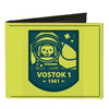 Canvas Bi-Fold Wallet - VOSTOK 1-1961 Cosmonaut Greens Blues
