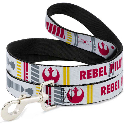 Dog Leash - Star Wars REBEL PILOT Rebel Alliance Insignia/Lightsaber/X-Wing Fighter White/Red/Yellow/Gray