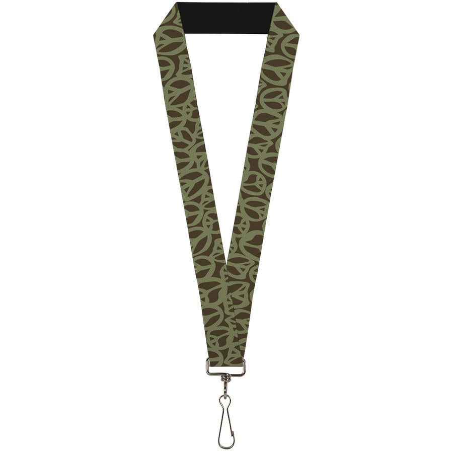 "Lanyard - 1.0"" - Peace Brown Olive"