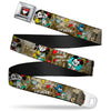 Mickey & Minnie Kiss Heart Full Color Gray Seatbelt Belt - Mickey & Minnie Croissant de Triomphe Scenes Webbing