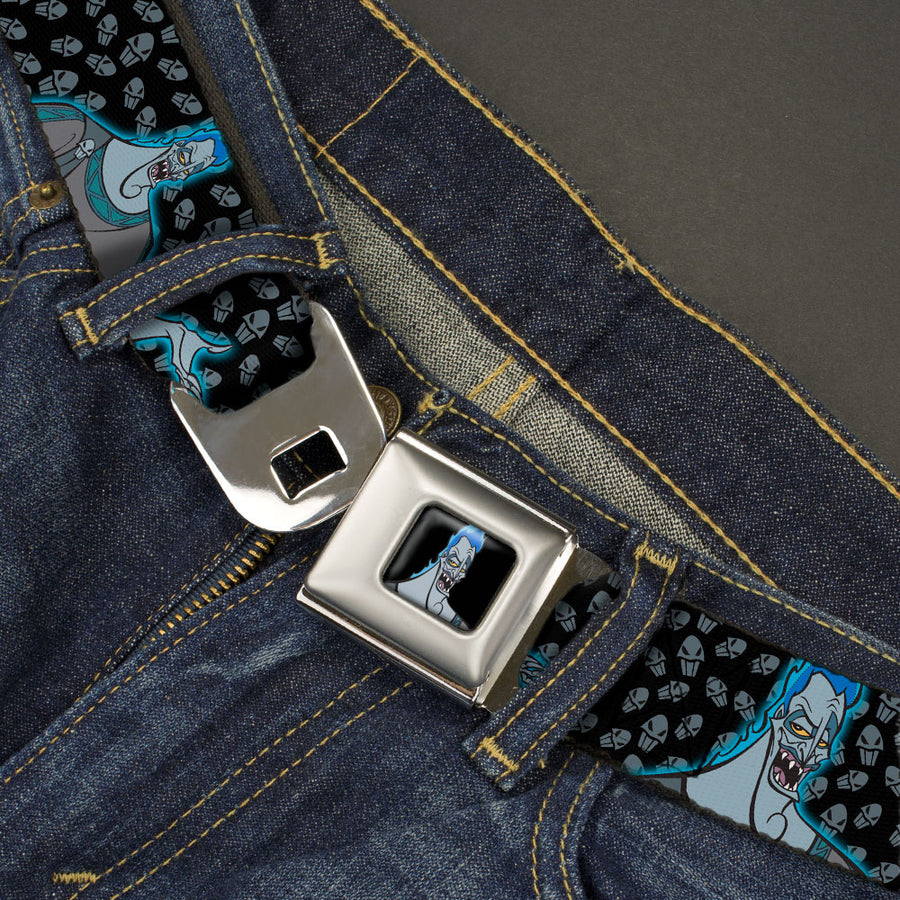 Hades Smiling Pose Full Color Black Seatbelt Belt - Hades Blue Glow Pose/Skull Icon Black/Gray Webbing