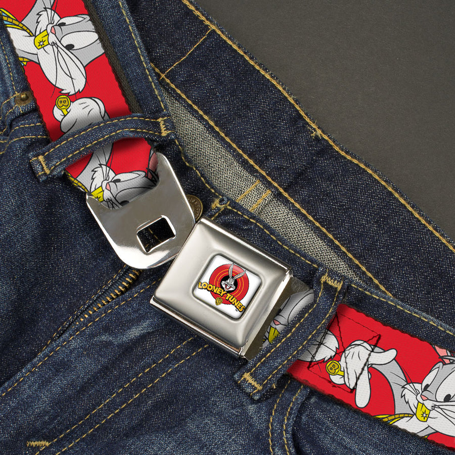 Looney Tunes Logo Full Color White Seatbelt Belt - Bugs Bunny Hip Hop Pose Red Webbing