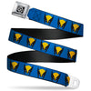 X-Men Logo Black/Silver Seatbelt Belt - Wolverine Mask Icon Blue/Black/Yellow Webbing