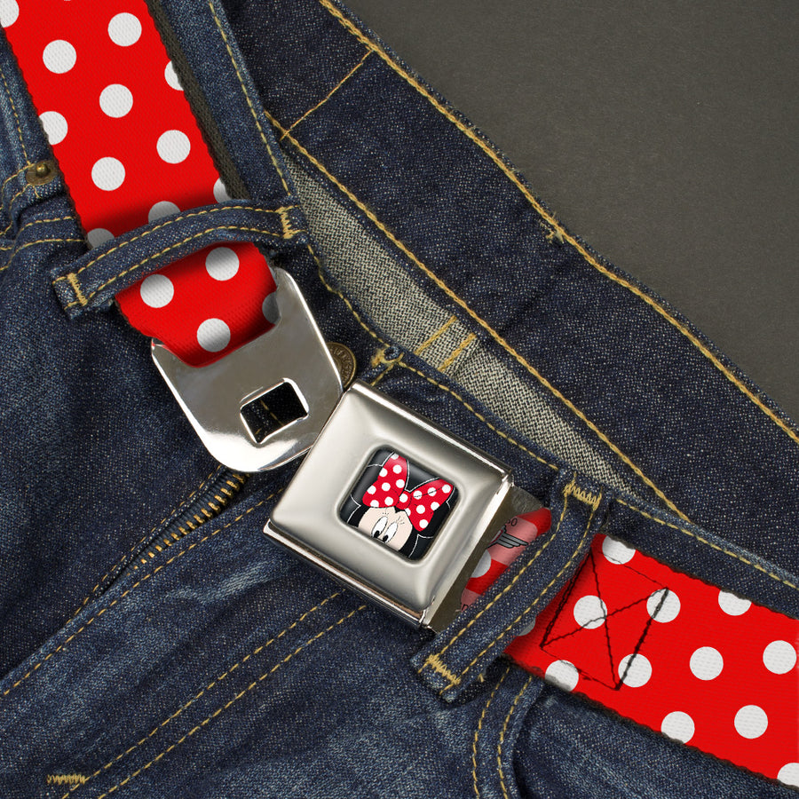 Minnie Mouse w Bow CLOSE-UP Full Color Black Red White Seatbelt Belt - Minnie Mouse Polka Dots Red/White Webbing