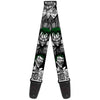 Guitar Strap - Joker Laughing Poses Black White Green