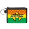 Canvas Zipper Wallet - MINI X-SMALL - AQUAMAN Logo3 Scales Stripe Orange Yellow Green