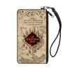 Canvas Zipper Wallet - LARGE - Hogwarts School THE MARAUDER'S MAP Tan Reds