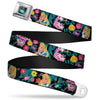 Alice in Wonderland DRINK ME Bottle Full Color Seatbelt Belt - Alice/Cheshire Cat/Flowers Poses Black/Multi Color Webbing