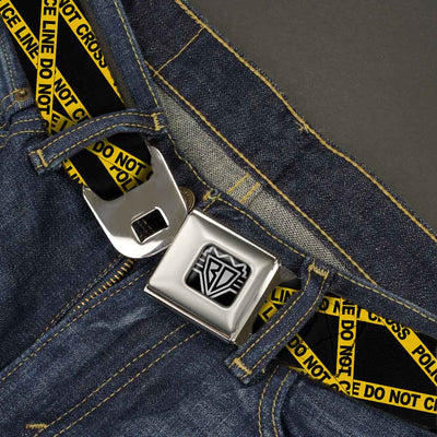 BD Wings Logo CLOSE-UP Full Color Black Silver Seatbelt Belt - Police Line Black/Yellow Webbing