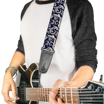 Guitar Strap - Filigree Navy Khaki