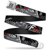 Cars Checker Flag Full Color Black White Seatbelt Belt - Lightning McQueen Poses FR/95 Checker Black/White/Red Webbing