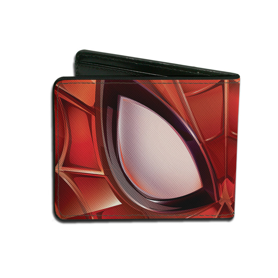 2016 SPIDER-MAN Bi-Fold Wallet - Spider-Man Eyes CLOSE-UP Reds Black White
