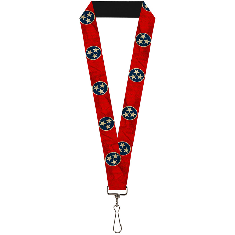 "Lanyard - 1.0"" - Tennessee Flag Stars CLOSE-UP Distressed"
