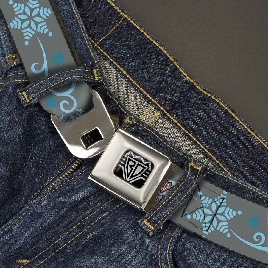 BD Wings Logo CLOSE-UP Full Color Black Silver Seatbelt Belt - Holiday Snowflakes Gray/Blue Webbing