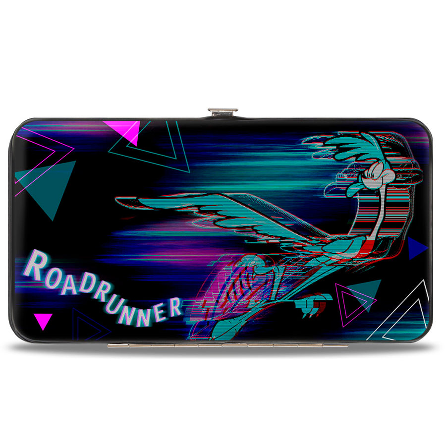 Hinged Wallet - ROAD RUNNER Action Pose Streak Triangles Black Blues Pinks