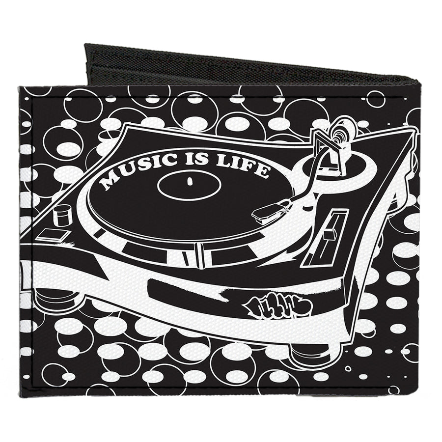 Canvas Bi-Fold Wallet - B-Boy Turntable Black White