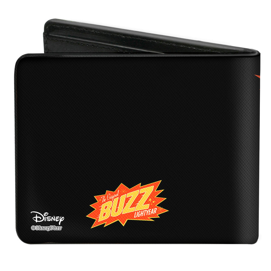 Bi-Fold Wallet - Toy Story Buzz Lightyear Action Pose Stars Black Orange Yellow