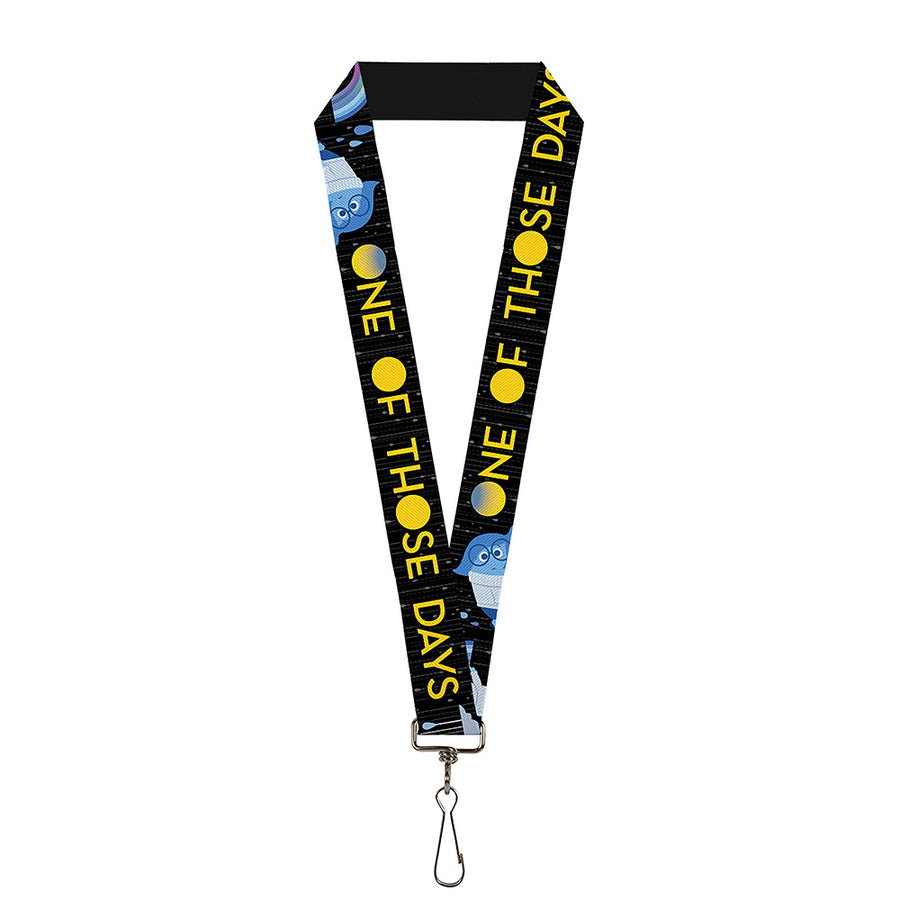 "Lanyard - 1.0"" - Joy Poses Rain ONE OF THOSE DAYS Black Gray Blues Yellow"