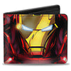 MARVEL AVENGERS Bi-Fold Wallet - Iron Man Face + Chest Arc Reactor CLOSE-UP
