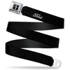 Ford Mustang Emblem Seatbelt Belt - FORD Script Single Black/White Webbing