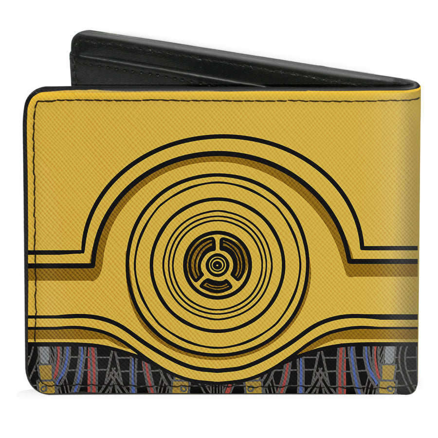 Bi-Fold Wallet - C3-PO Face + Wires Bounding Yellows Black Multi Color