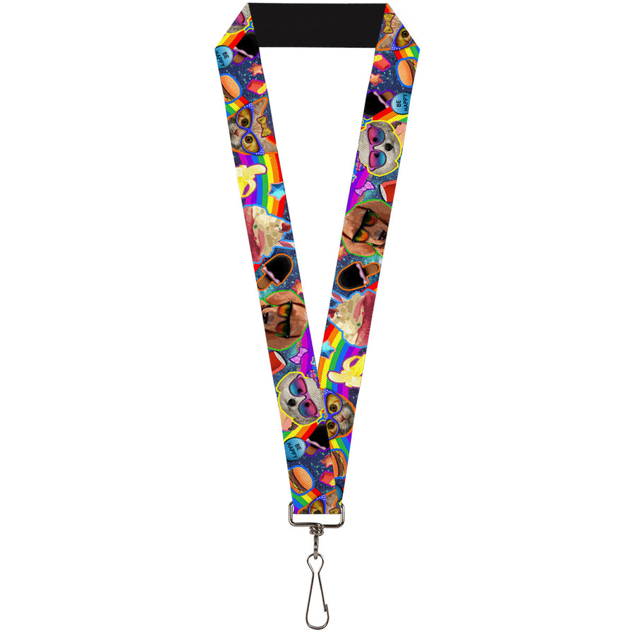 "Lanyard - 1.0"" - Pets & Snacks Rainbow Collage"