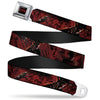 A NIGHTMARE ON ELM STREET Logo Full Color Black/Reds Seatbelt Belt - Freddy 4-Poses/Quote Scrawls/Hand Scratching Reds/Black Webbing