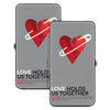 Hinged Wallet - LOVE HOLDS US TOGETHER Safety Pin Heart Grays Red Black
