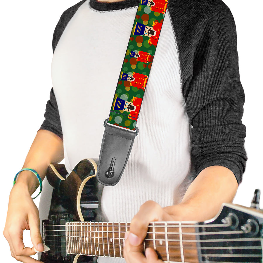 Guitar Strap - Christmas Nutcracker Polka Dots Greens Gold Red
